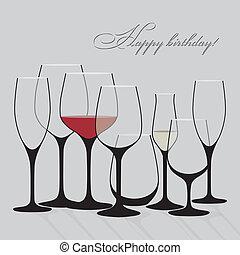 ワイン, 背景, ガラス