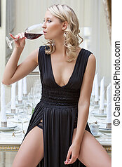 ワイン, 飲むこと, 女, 美しい, レストラン