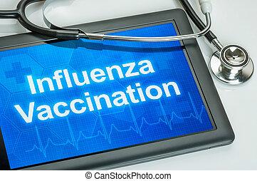 ワクチン接種, テキスト, インフルエンザ, ディスプレイ, タブレット