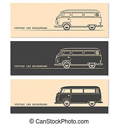 ワゴン, セット, 型, バス, silhouettes., バン, 自動車