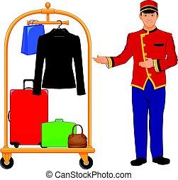 ワゴン, ホテル, ボーイ, サービス, 手荷物