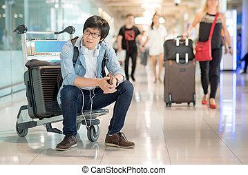 ワゴン, モデル, 若い, ターミナル, 空港, アジア 人