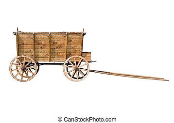 ワゴン, 古い, 木製である, 隔離された, 背景, 白