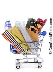 ワゴン, 様々, 材料, 買い物, 生地