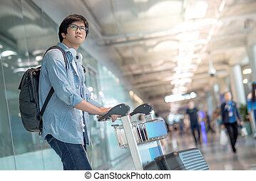 ワゴン, 歩くこと, 若い, ターミナル, 空港, アジア 人