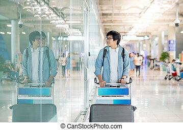 ワゴン, 歩くこと, 若い, 空港, アジア 人