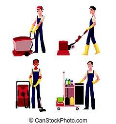 ワゴン, 男の子, 洗浄, サービス, 機械, 床, 清掃, 洗剤, 真空