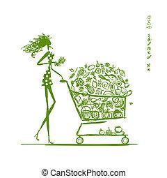 ワゴン, 食物, 女性買い物, スーパーマーケット