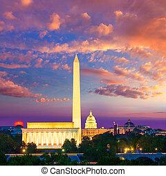 ワシントン州 記念碑, 国会議事堂, そして, リンカーンの 記念物