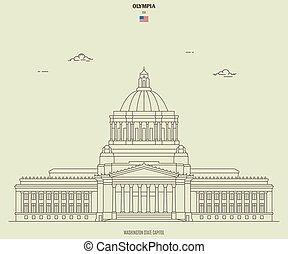 ワシントン, ランドマーク, olympia, 州, アイコン, usa., capitoll