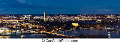 ワシントン, 航空写真, dc, パノラマ
