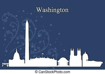 ワシントン, 都市 スカイライン, シルエット, 上に, 青い背景