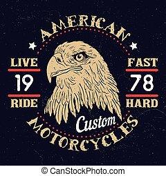 ワシ, アメリカ人, オートバイ, emblem.