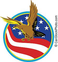 ワシ, アメリカ, アメリカの旗, レトロ, 届きなさい