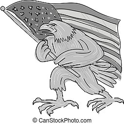 ワシ, アメリカ, アメリカ人, 揺れている旗, 漫画