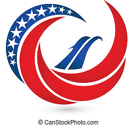 ワシ, アメリカ, シンボル, 旗, ベクトル, ロゴ