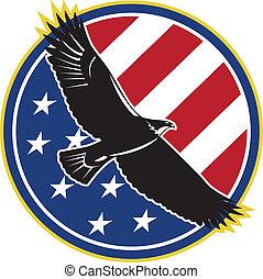 ワシ, アメリカ, 飛行, アメリカの旗, レトロ