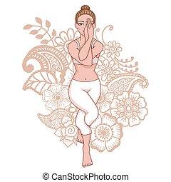 ワシ, ヨガ, pose., silhouette., garudasana, 女性
