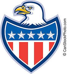 ワシ, 保護, はげ, アメリカの旗, レトロ