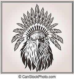 ワシ, 羽, アメリカインディアン, 民族, 頭飾り
