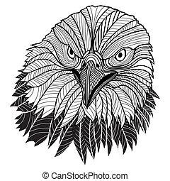 ワシ, 頭, 紋章, アメリカ, シンボル, はげ, ∥あるいは∥, そのような物, logo., デザイン, マスコット