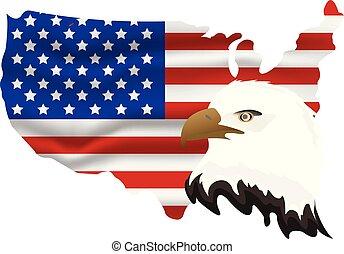 ワシ, 7月, アメリカ人, イラスト, day., 旗, ベクトル, 4, th, icon., 漫画, 独立, 幸せ