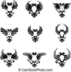ワシ, heraldic, セット, 頭, ダブル