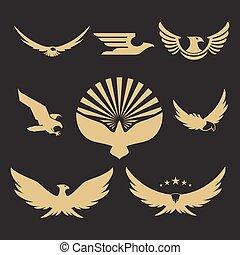 ワシ, heraldic, デザイン, 金, ロゴ