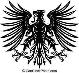 ワシ, heraldic, 黒