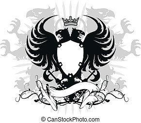 ワシ, heraldic, head03, ダブル