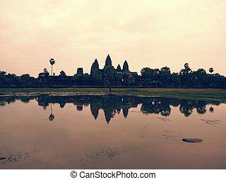 ワット, 日没, 寺院, angkor