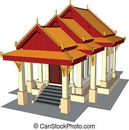 ワット, thai., 寺院, 中に, タイ