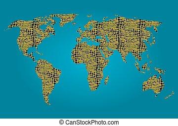ワニ, 地図, 満たされた, 世界, パターン