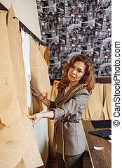 ワークショップ, 仕立屋, 女性, パターン, 選択, ペーパー, snipper, 衣類