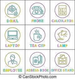 ワークスペース, オフィス, lineout, イラスト, 整理