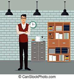 ワークスペース, 時計, cabient, 腕, 屋根, ランプ, 本, 交差させる, ファイル, 家具, 人
