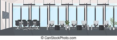 ワークスペース, 現代, テーブル, co-working, キャビネット, 窓, 人々, 横, 空, 平ら, パノラマである, ミーティング, 机, ラウンド, オフィス, 会議, 仕事場, 創造的, 部屋, 内部, いいえ