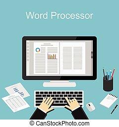 ワードプロセッサー, 仕事, illustration.