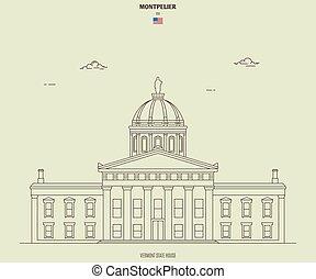 ヴァーモント, montpelier, 家, ランドマーク, 州, アイコン, usa.