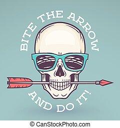 一かじり, 服装, ロゴ, arrow., サングラス, design., geek, 矢, ポスター, 情報通, 店, idiom, label., 頭骨, t-shirt., 動機づけ, 涼しい