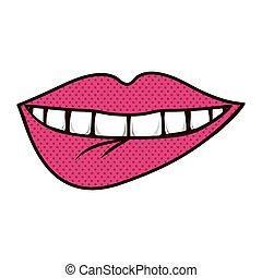 一かじり, teeths, シルエット, 唇