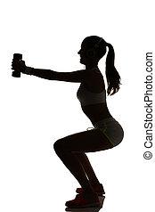 一個婦女, 行使, 健身, 測驗, 刺, 蜷縮, 重量訓練, 在, 黑色半面畫像