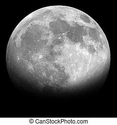 一半月亮, 在, the, 夜晚