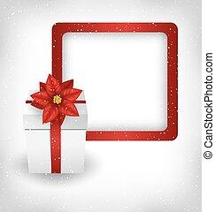 一品紅, grayscale, 禮物盒, 框架