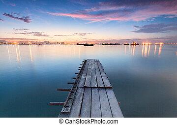 一族, penang, 突堤, 日の出