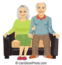 一緒に座る, 年配, ソファー, 恋人, ロマンチック, 終わり