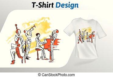 一緒に, ジャズ, 隔離された, の上, tシャツ, バックグラウンド。, print., ベクトル, デザイン, 音楽家, 白, 遊び, template., mock, テンプレート