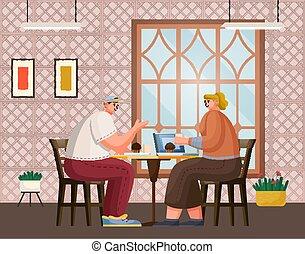 一緒に, テーブル, コーヒー, 飲むこと, 人, ラップトップ, モデル, レストラン, 友人, 女