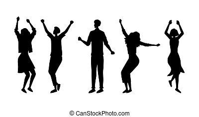 一緒に。, パーティー。, 満足させられた, 特徴, 若い, ベクトル, 十代の若者たち, poses., イラスト, ファッション, 人々, 楽しむ, シルエット, 漫画, 女の子, 平ら, concept., ダンス, ダンス, 別, 男の子, パーティー
