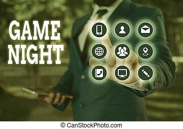 一緒に, 人々, 意味, night., 得なさい, 得ること, laid., ゲーム, テキスト, でき事, 概念, 目的, 手書き